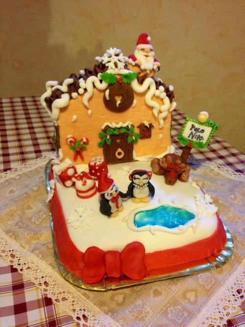 Torta villaggio Babbo Natale finita